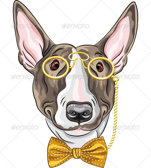GraphicRiver Cartoon Hipster Bullterrier Dog 7522627