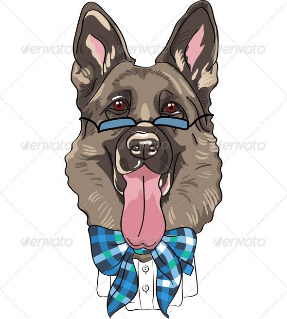 GraphicRiver Cartoon Hipster German Shepherd 7522671
