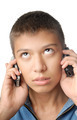 Boy with two cell phones - PhotoDune Item for Sale