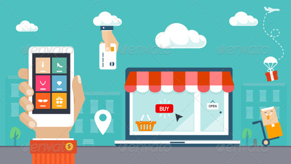 GraphicRiver Shopping and E-commerce Flat Icons 7523599