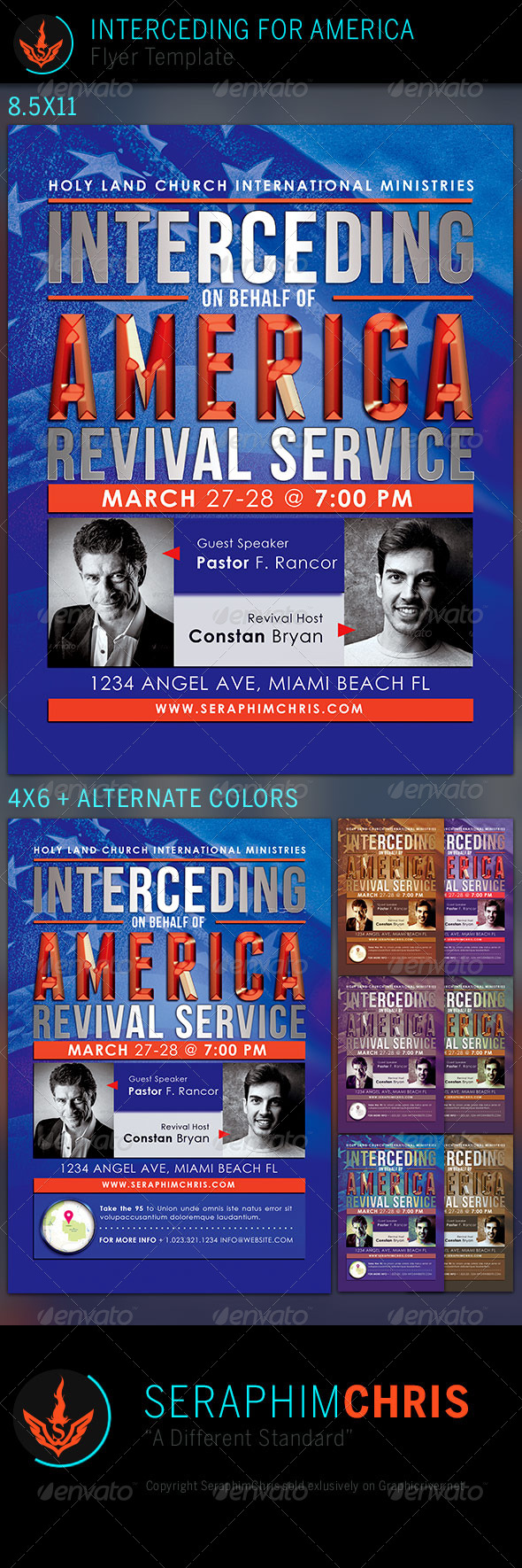 GraphicRiver Interceding for America Church Flyer Template 7524974