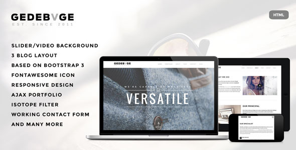 ThemeForest Gedebvge Responsive One Page Portfolio Template 7525114