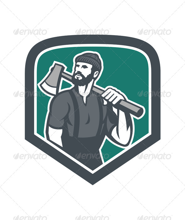 GraphicRiver Lumberjack Holding Axe Shield Retro 7525243