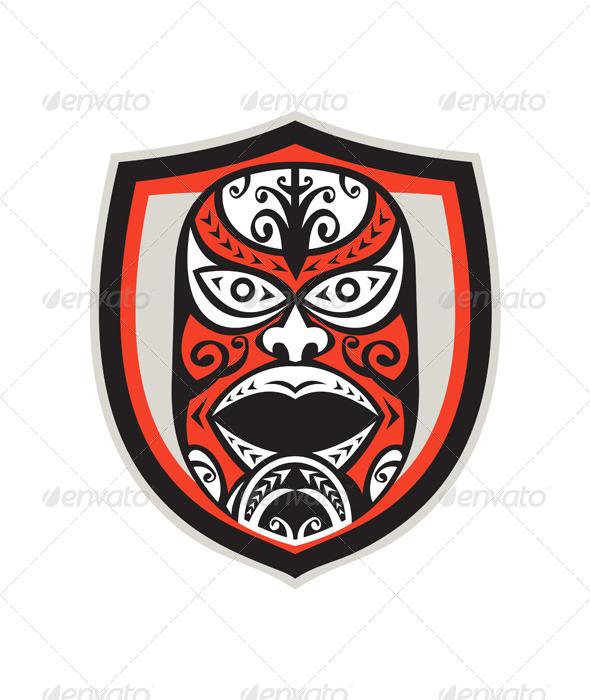 GraphicRiver Maori Mask Shield Retro 7525248