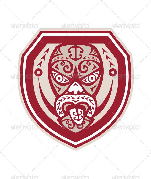 Maori Mask Tongue Out Shield Retro