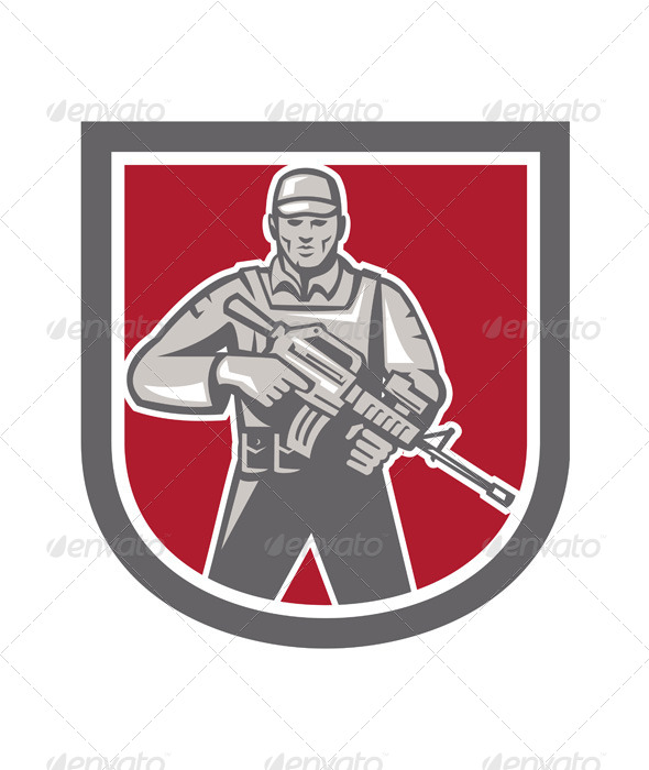 GraphicRiver Soldier Serviceman With Assault Rifle Shield 7525257