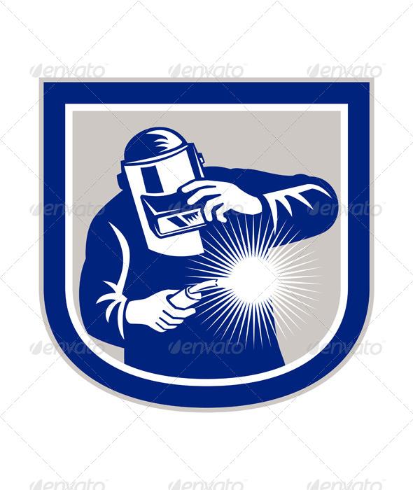 GraphicRiver Welder Welding Torch Front Shield Retro 7525260