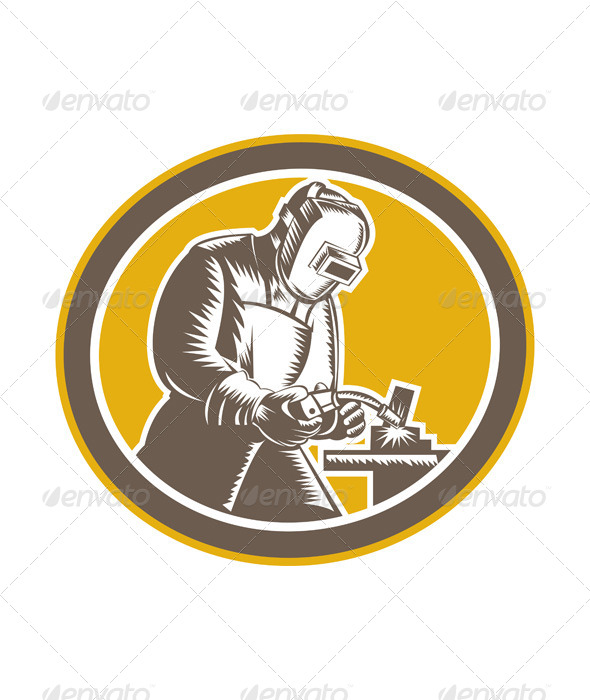 GraphicRiver Welder Welding Side Woodcut Oval Retro 7525261