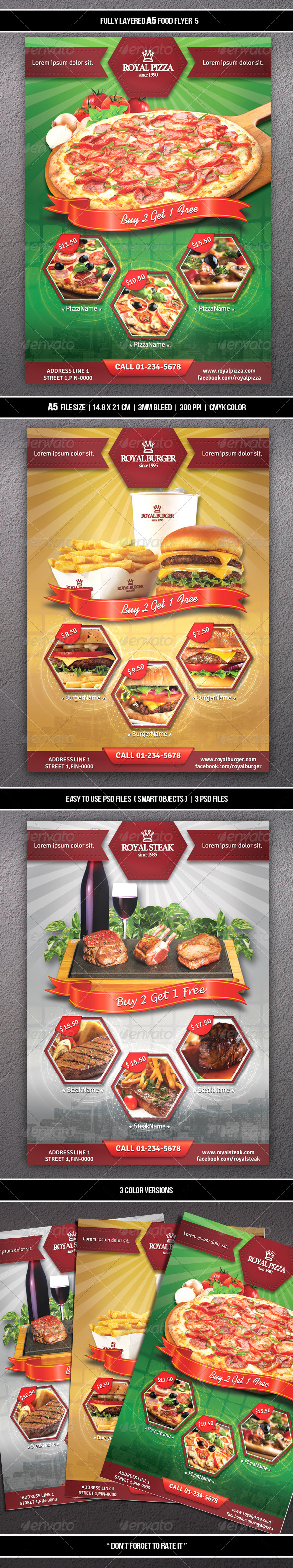 GraphicRiver Food Flyer 5 A5 7525286