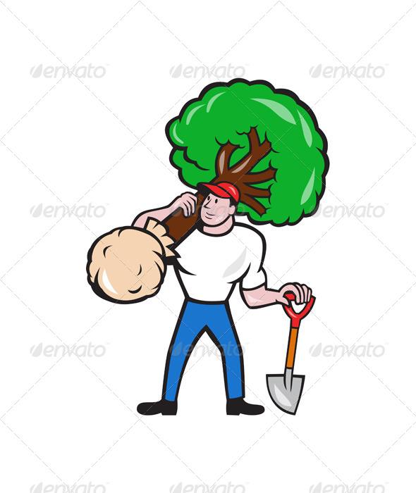 GraphicRiver Gardener Arborist Carrying Tree Cartoon 7525288