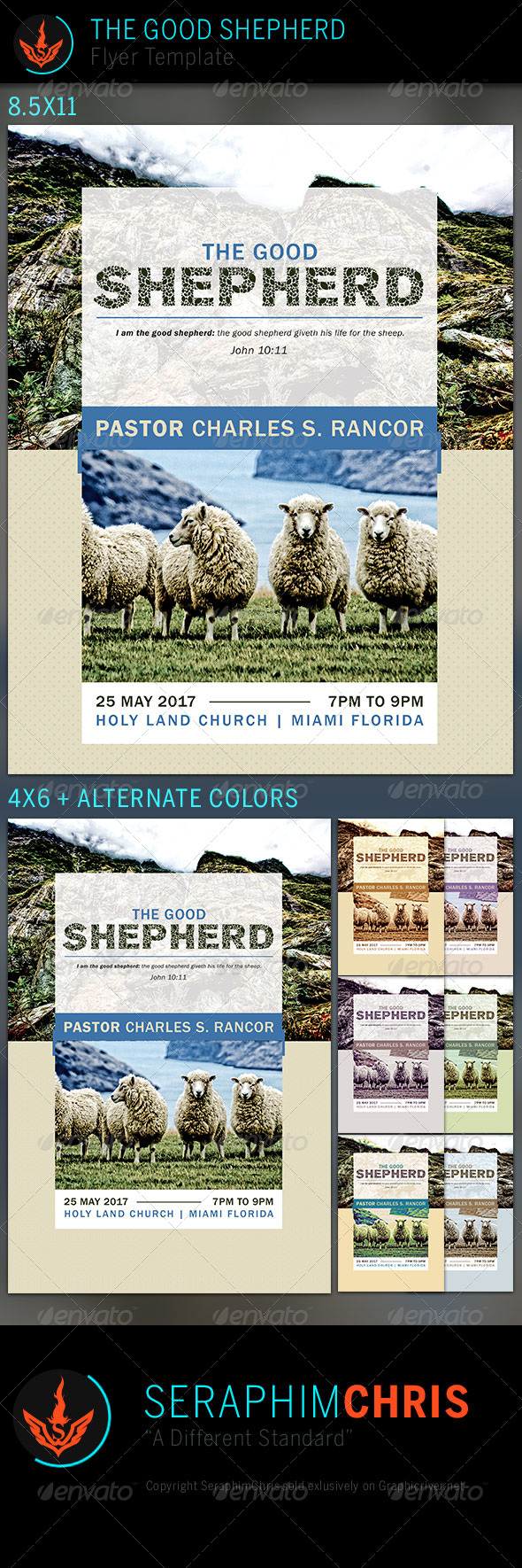 GraphicRiver The Good Shepherd Church Flyer Template 7525291