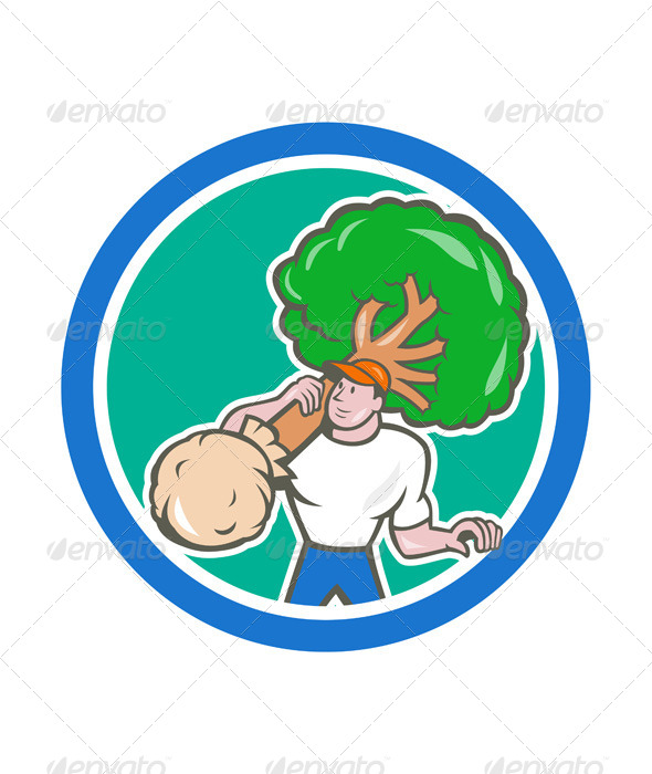 GraphicRiver Gardener Arborist Carrying Tree Cartoon 7525290