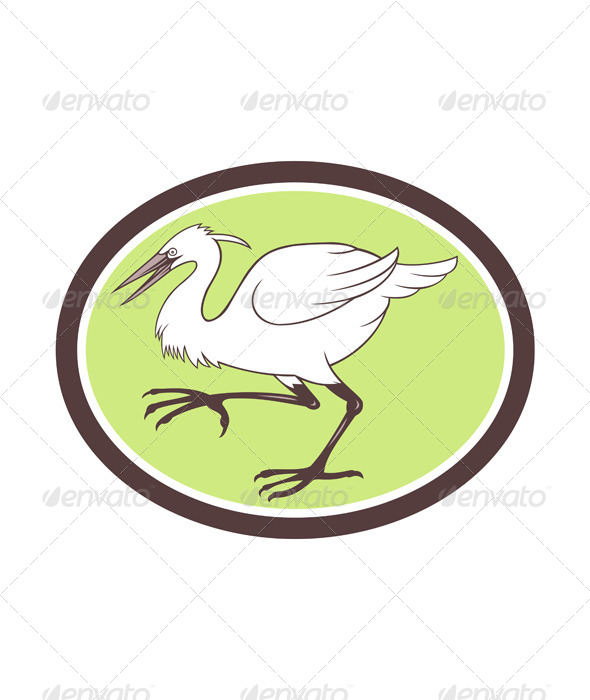 GraphicRiver Egret Heron Crane Walking Cartoon 7525292