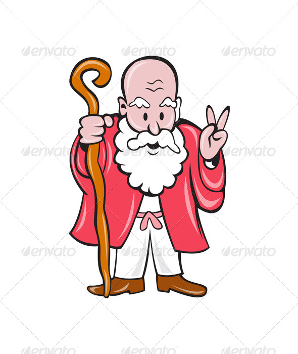 GraphicRiver Bearded Old Man Staff Peace Sign Cartoon 7525297