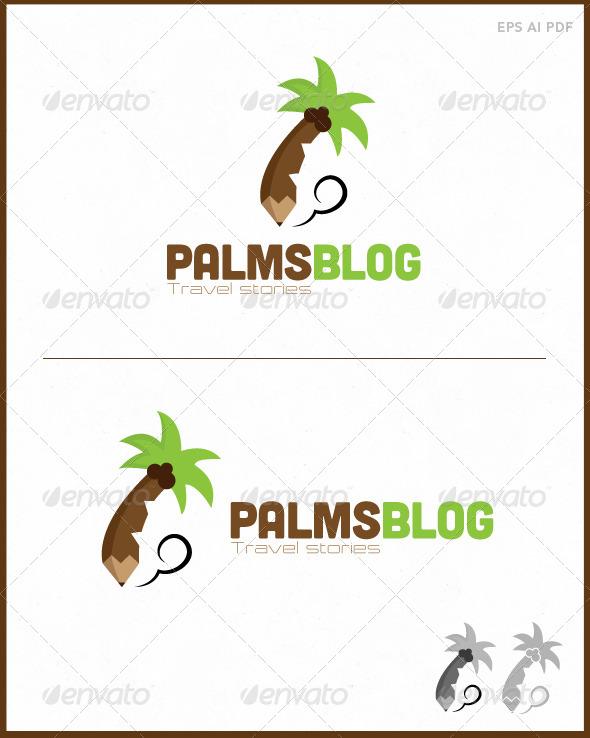 GraphicRiver Travel Blog Logo Palm Blog 7525360