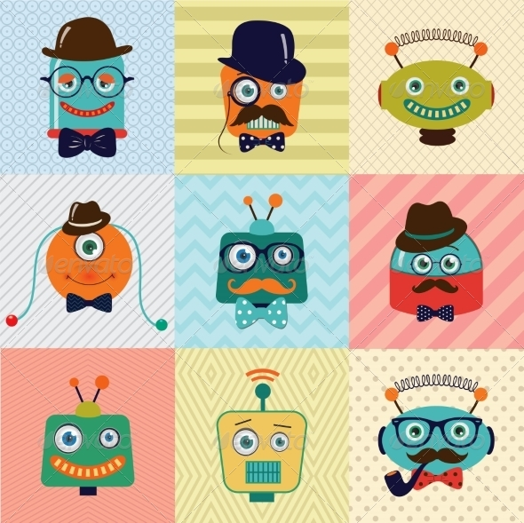 GraphicRiver Hipster Vintage Fashion Robots 7526581