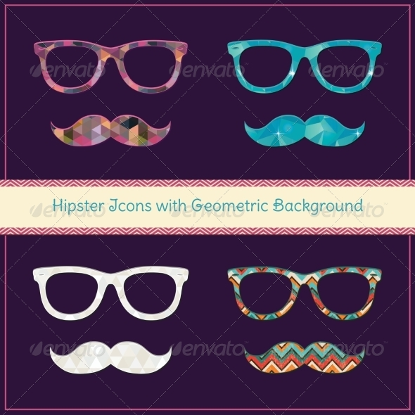 GraphicRiver Hipster Icons with Geometric Grunge Background 7526587