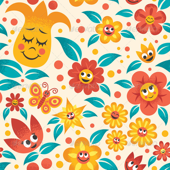GraphicRiver Cartoon Floral Pattern 7526600