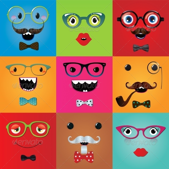 GraphicRiver Set of Hipster Monster Eyes 7526725