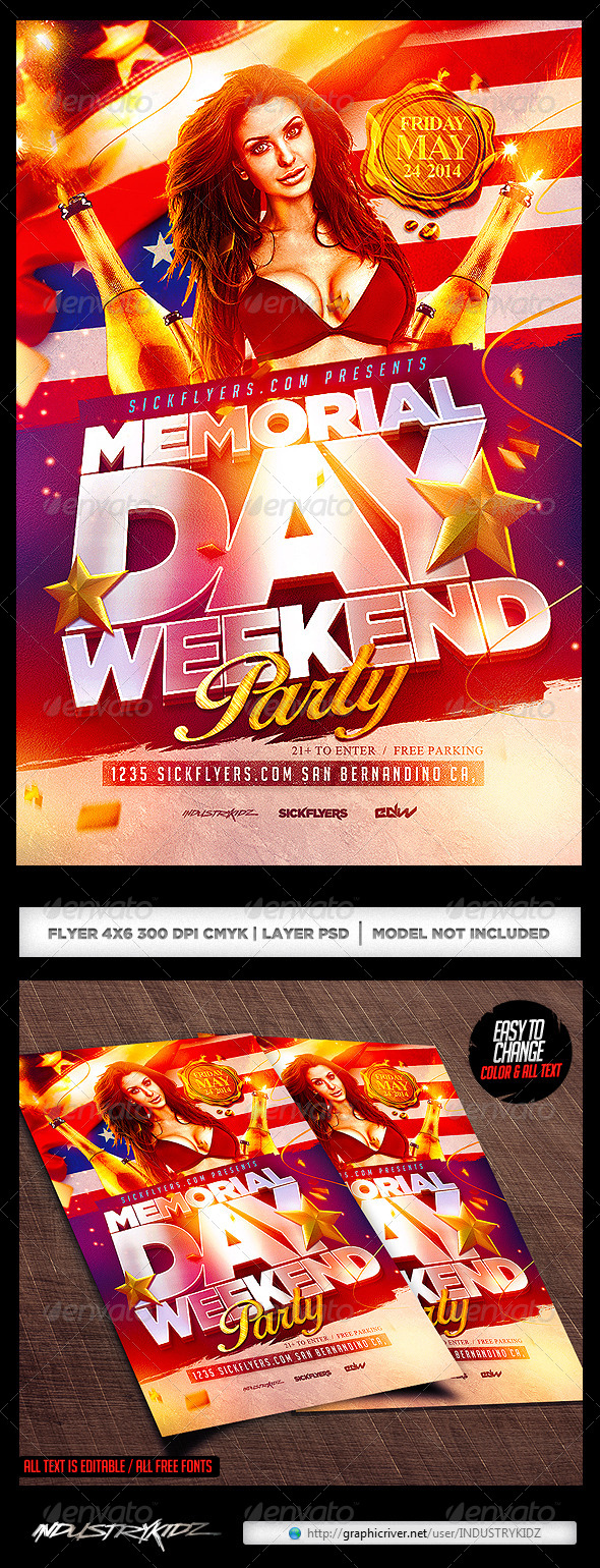 GraphicRiver Memorial Day Flyer Template 7526919