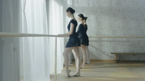 VideoHive Three Young and Beautiful Ballerinas Stretching Legs and Exercising at Ballet Bar 19473652