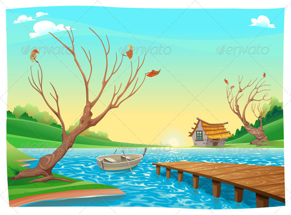 GraphicRiver Lake with Boat 7527171