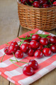 Organic Cherries on the checkered napkin - PhotoDune Item for Sale