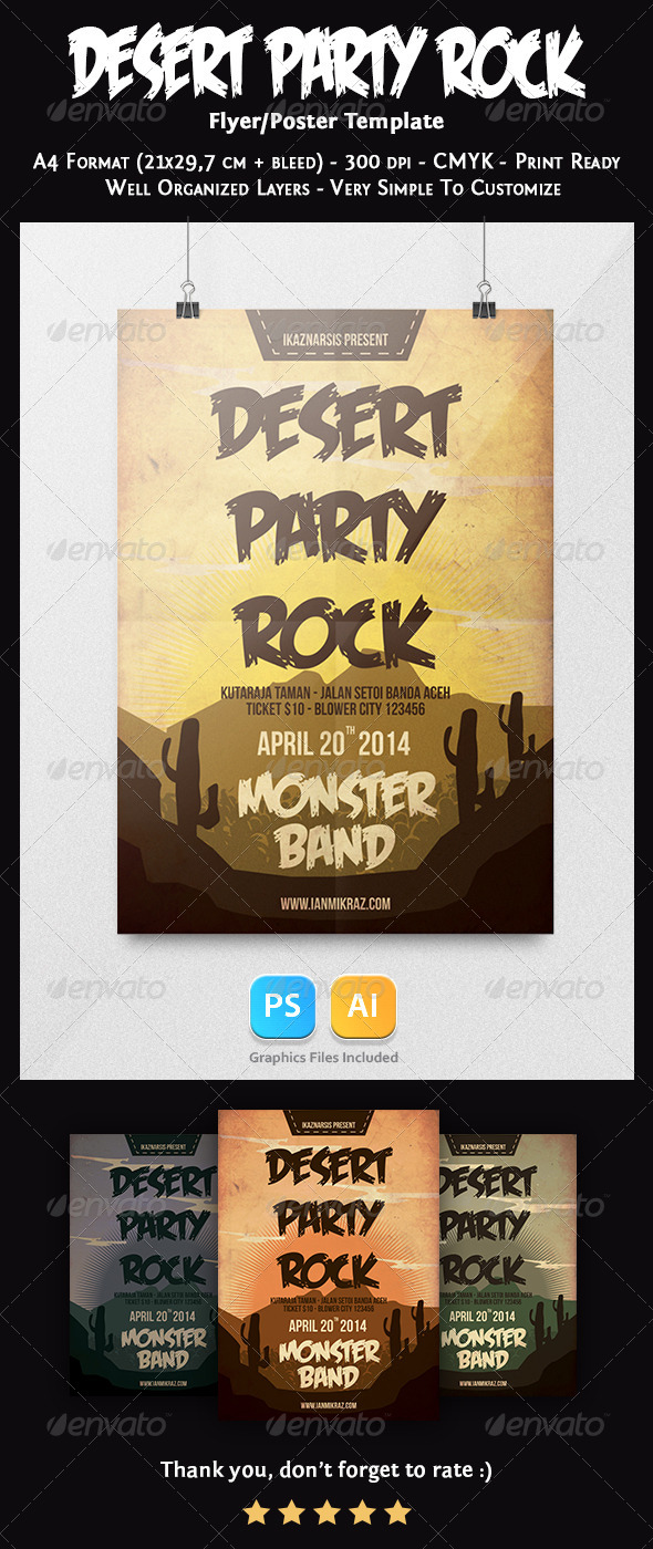 GraphicRiver Desert Party Rock Flyer Template 7527265