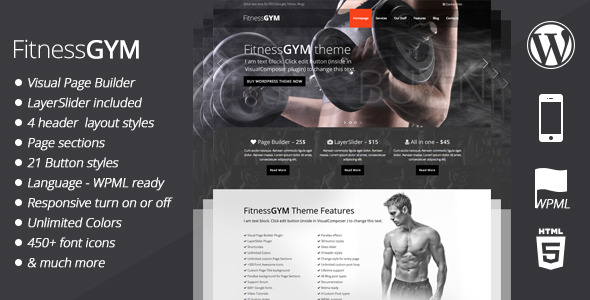 FitnessGYM - WordPress Sport/Fitness Theme