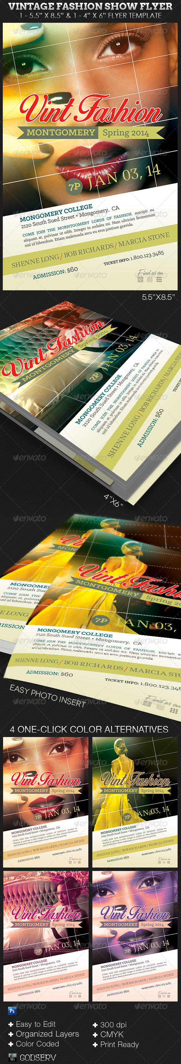 GraphicRiver Vintage Fashion Show Flyer Template 7525044