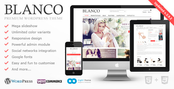 plantillas ecommerce moda Blanco - Responsive WordPress Woo/E-Commerce Theme - WP e-Commerce eCommerce