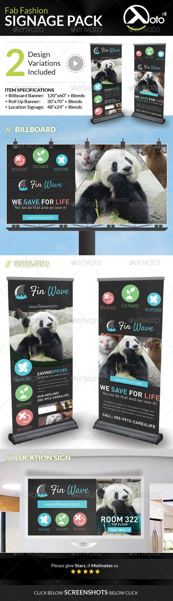 GraphicRiver Fin Wave Wildlife Rescue Signage Pack 7530530