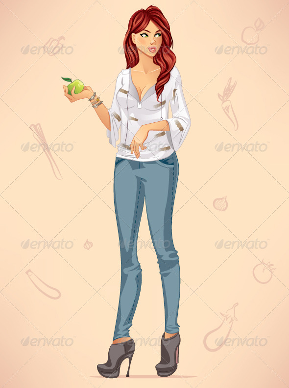 GraphicRiver Woman Holding an Apple 7531311