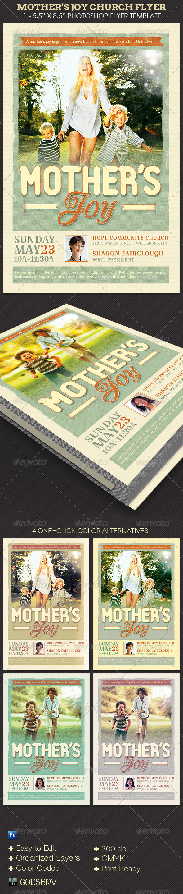 Mother's Joy Church Flyer Template - Church Flyers
