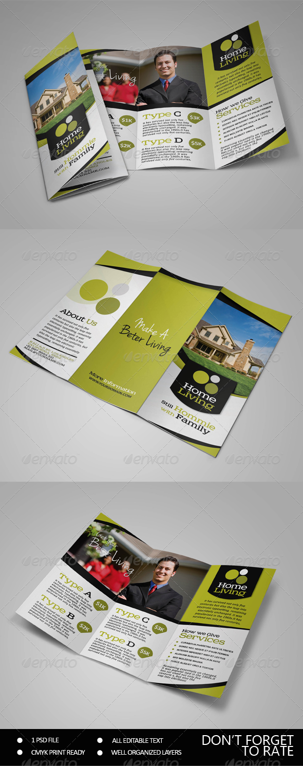 GraphicRiver Living Real Estate Trifold Brochure 7531452