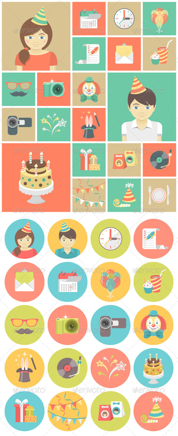 GraphicRiver Kids Birthday Party Icons 7533502