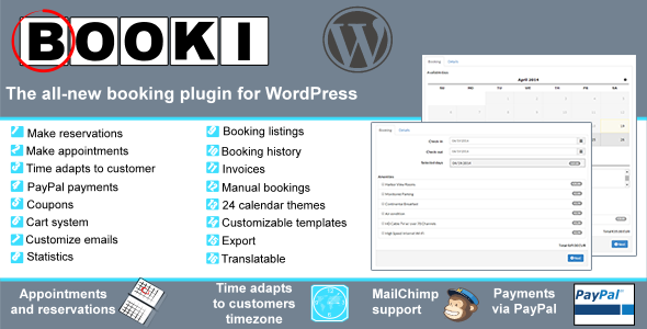 The Demo +Front end demo. +backend demo Demo resets every 1 hour and it is also limited in what can be done. Booki—A modern booking plugin for WordPress A
