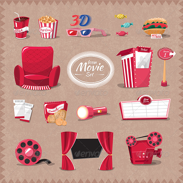GraphicRiver Movie Icon in Theater 7530736