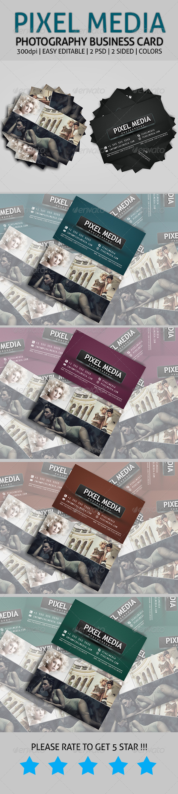 GraphicRiver Pixel Media Photography Business Card 7536280