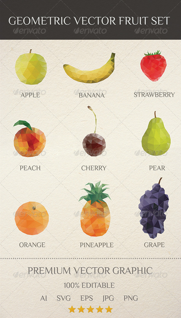 GraphicRiver Geometric Vector Fruit Set 7536599