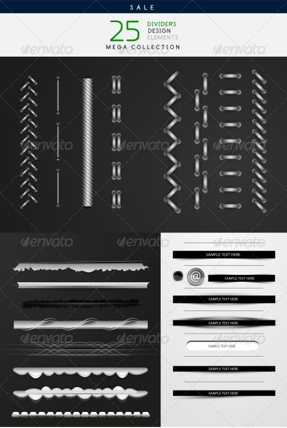 GraphicRiver Stitches and Dividers Set 7537098