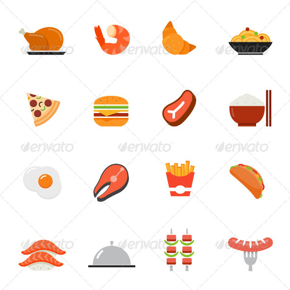Food Icons Flat Design Graphicriver
