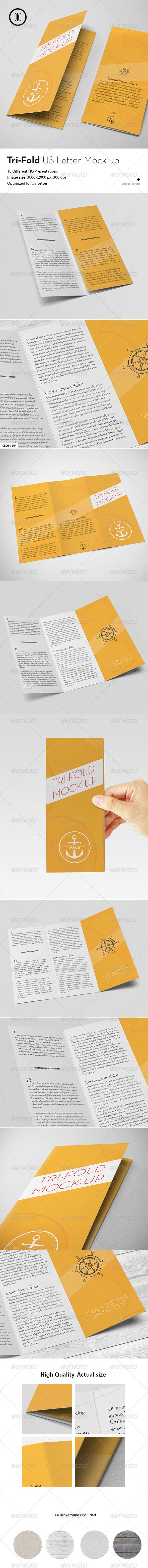 GraphicRiver Tri-Fold Brochure Mockup US Standard 7541031