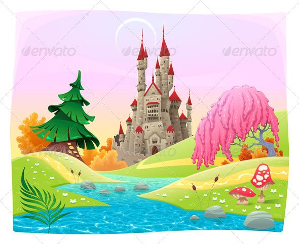 GraphicRiver Mythological Landscape with Medieval Castle 7543353