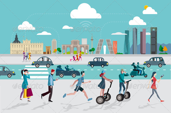 GraphicRiver Madrid Skyline and People with Smart Phones 7543900