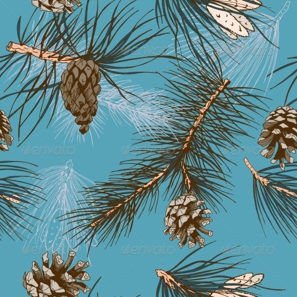 GraphicRiver Pine Branches Pattern 7545037