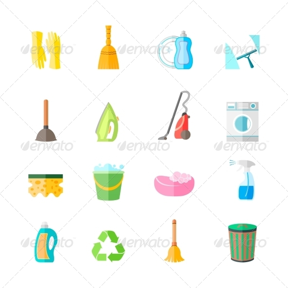 GraphicRiver Cleaning Icons Set 7545068