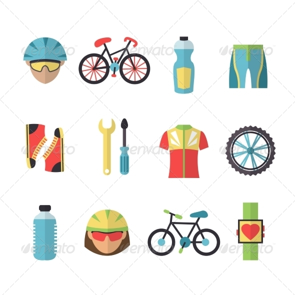 GraphicRiver Bicycle Sports Icons Set 7545293