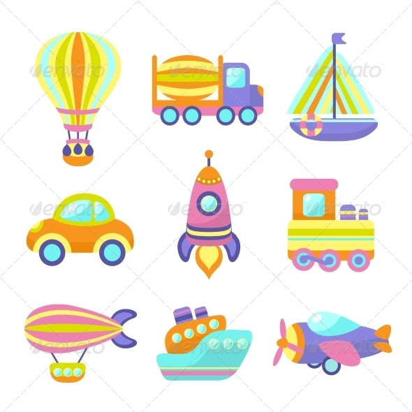 GraphicRiver Transport Toys Icons Set 7545330