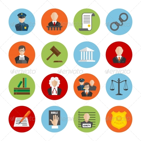GraphicRiver Law Flat Icons 7545498